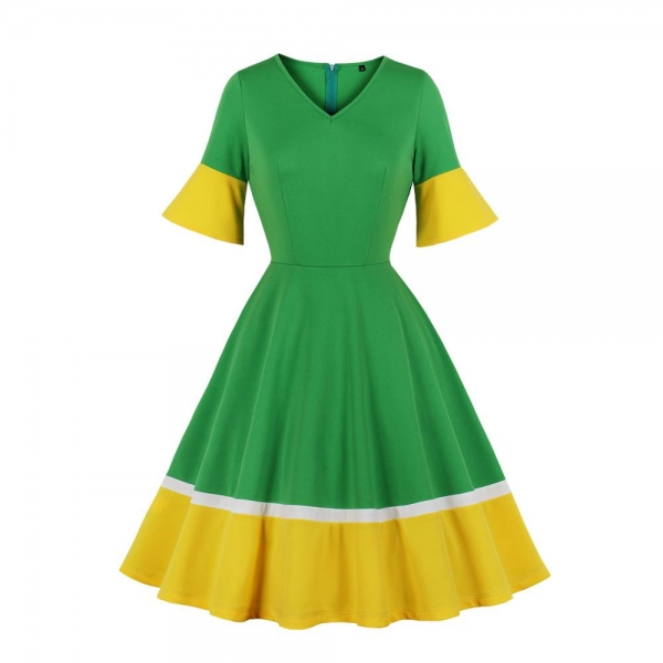 Casual Women v Neck Vintage Dress 1/2 Half Sleeve Flare Sleeve Solid Color Polyester Dress Green And Yellow
