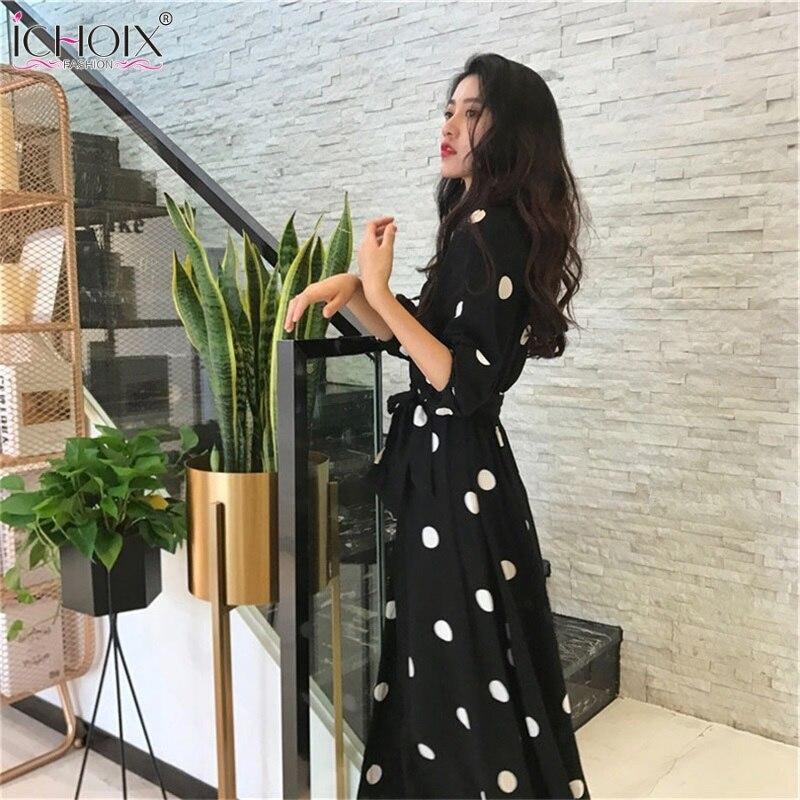 Half Sleeve Summer Women Dress Korean Style V-neck Ladies Evening Party Long Dress Vintage Elegant Dot Dress 19 robe femme 3