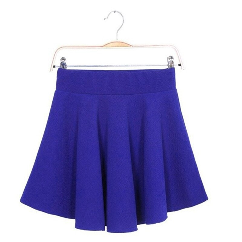 16 Summer Women Candy Color Stretch Waist Plain Skater Flared Pleated Mini Skirt Womens SolidBlue Short Skirts Wholesale 1