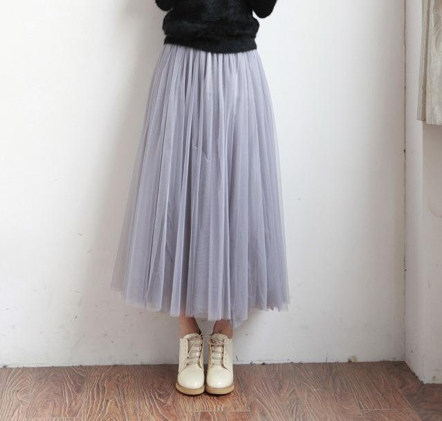 UWBACK Women Skirt 18 Summer Long Maxi Mesh Skirt Tulle Skirts Women's Full Skirt Tutu 3 Colors Mujer Falda KB1040 2