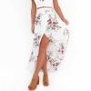 Vintage long Skirts Summer White Floral Print Elegant Beach VITIANA Brand Women Vintage long Skirts Summer White Floral Print Elegant Beach Maxi Skirt Boho high waist asymmetrical skirt