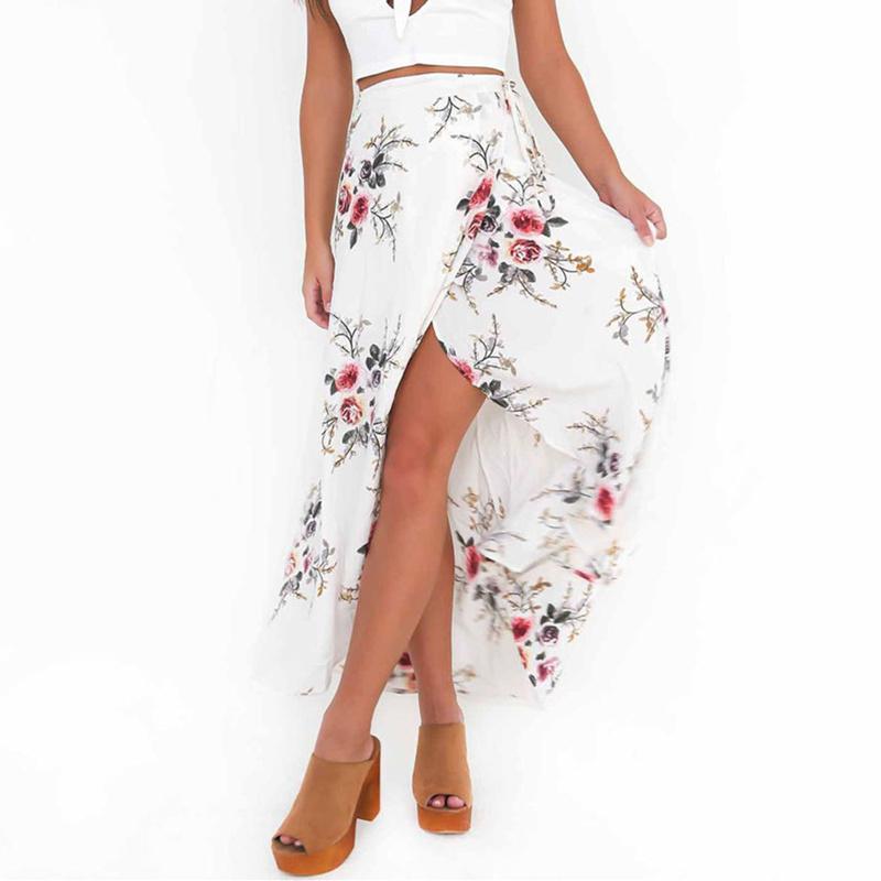 VITIANA Brand Women Vintage long Skirts Summer White Floral Print Elegant Beach Maxi Skirt Boho high waist asymmetrical skirt 1