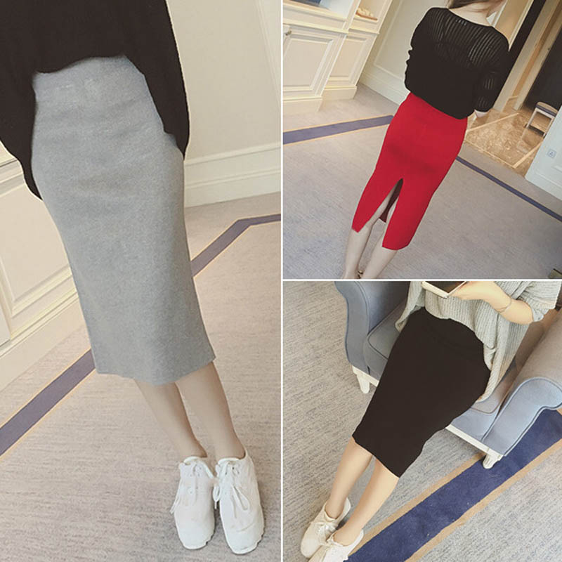 16 Spring autumn and winter when the bag hip skirt step skirt stretch slim slim skirt waist in female 1