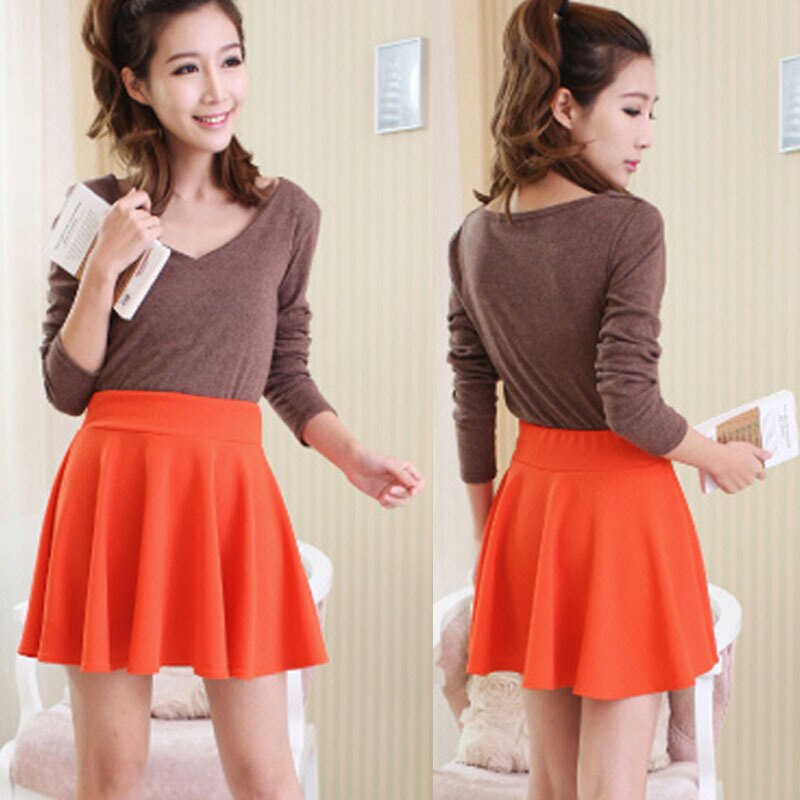 WEIXINBUY Spring New Women Candy Color Casual A-line Flared Mini Circle Short Pleated Women Skirt 2