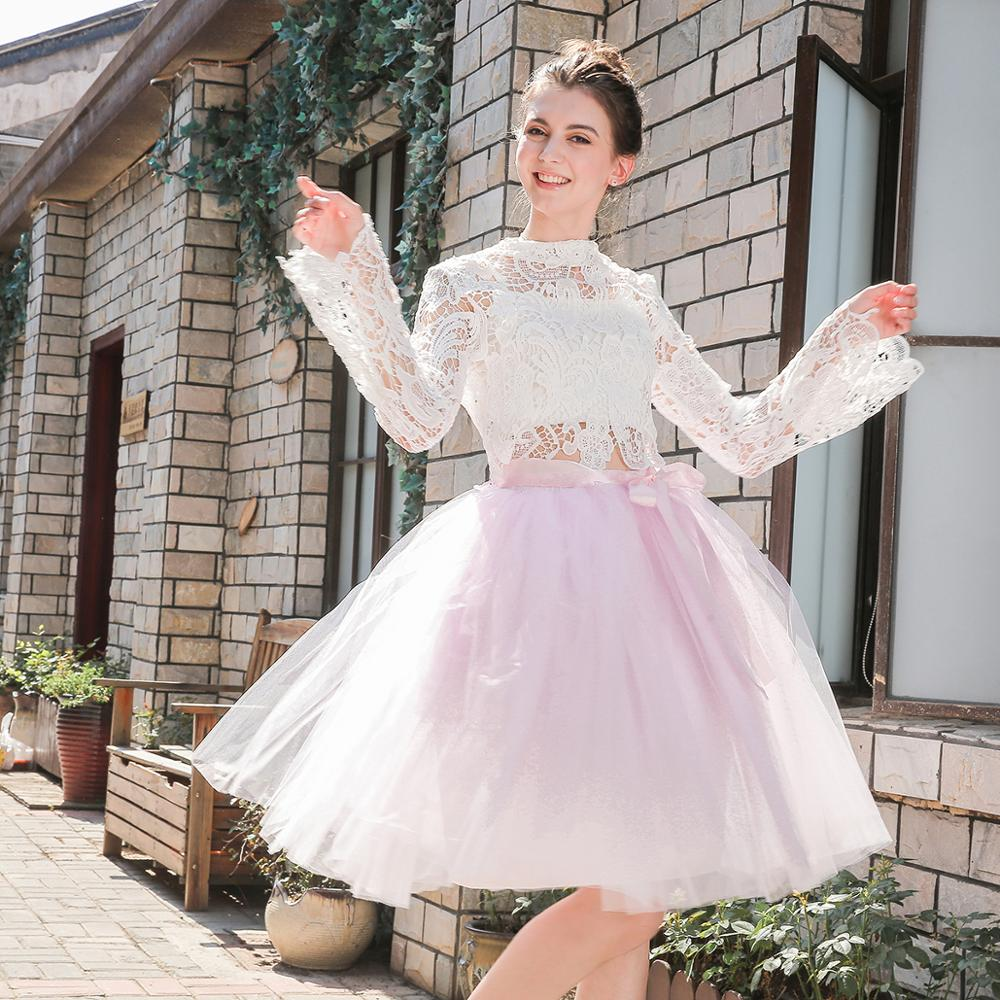 5 Layers Midi Tulle Skirts Womens Fashion TUTU Skirt Elegant Wedding Bridal Bridesmaid Skirt Wedding Lolita Underskirt Petticoat 1