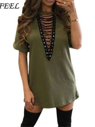 3xl 18 Summer Fashion Women Dress Half Sleeve Sexy Deep V-Neck Criss Bandage Party Dresses Mini T Shirts Dress Plus Size