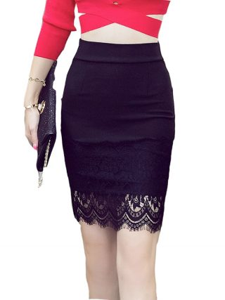 16 Summer New Casual Fashion Elegant Sexy Slim Bodycon Lace Mini Women OL Pencil Skirt Plus Size jupe sexy junior rokken