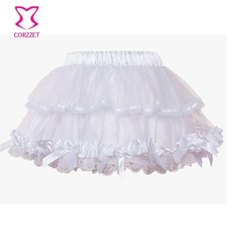 Corzzet White Lace Wedding Tu Tu Skirt Burlesque Women Lolita Tutu Party Dance Adult Skirt Performance Cloth 3