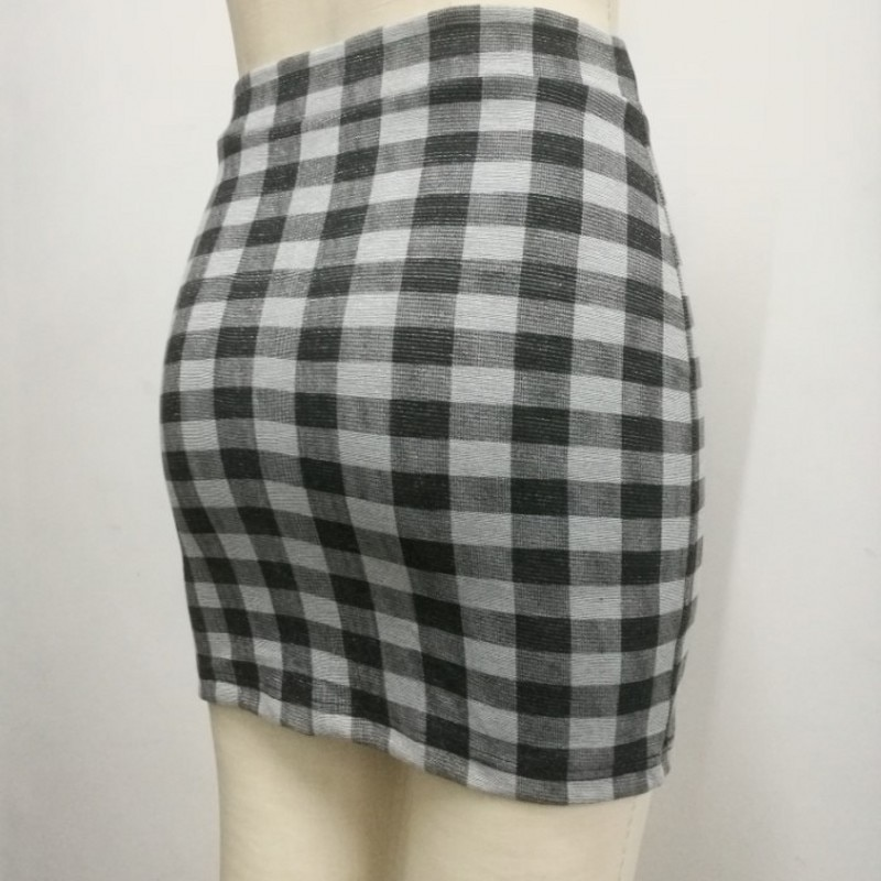 1 pc spring and summer Women Skirt High Waist Pencil Skirts Elastic Slim Office Black and plaid Skirt Two styles 1