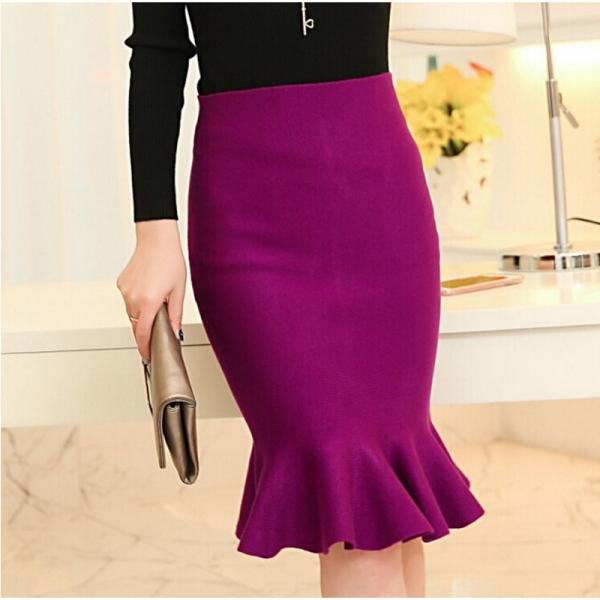 high waist skirts womens 16 knit midi Fish Tail ruffles hip Skirt Saias Femininas FS0198