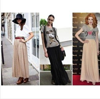 Free Shipping New Brand Designer Hot Sale Candy Colors High Quality Sexy Long Chiffon Skirt Pink Blue Black Red White Green C003 2