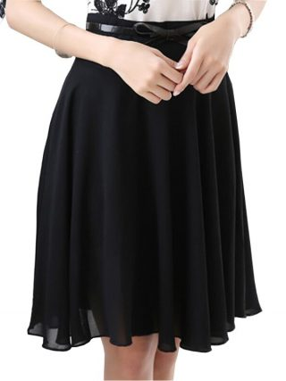 Cool Summer Lady Fashion Chiffon Skirt Plus Size S-3XL Belt Decor A-Line Style Girls Black Skirts Women Clothing