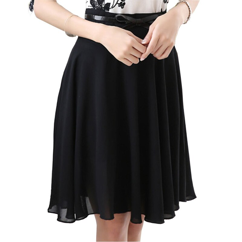 Cool Summer Lady Fashion Chiffon Skirt Plus Size S-3XL Belt Decor A-Line Style Girls Black Skirts Women Clothing