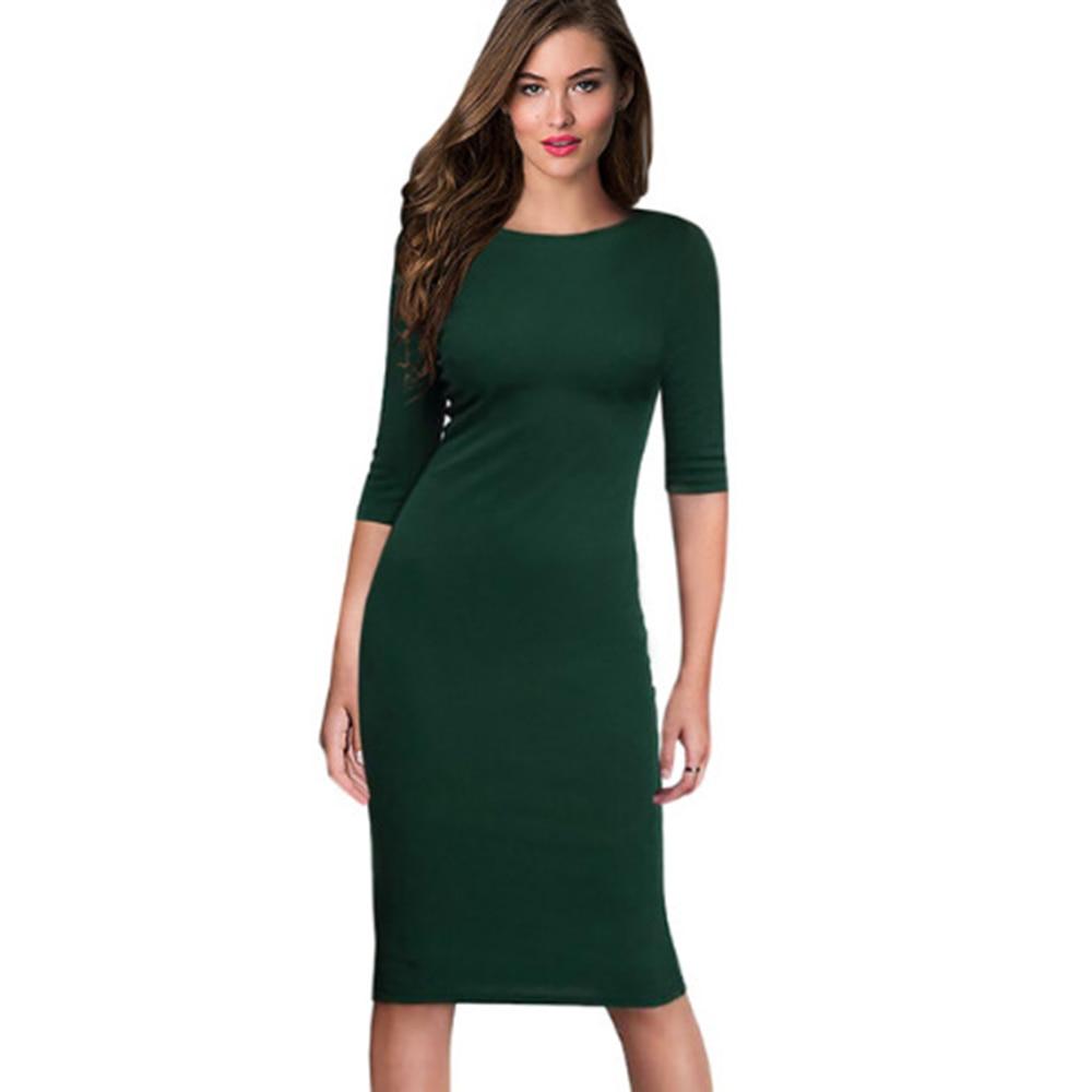 Berydress Women's Work Office Dresses 18 Summer Half Sleeve Knee Length Midi Formal Vestidos De Festa Burgundy Casual Dresses 3