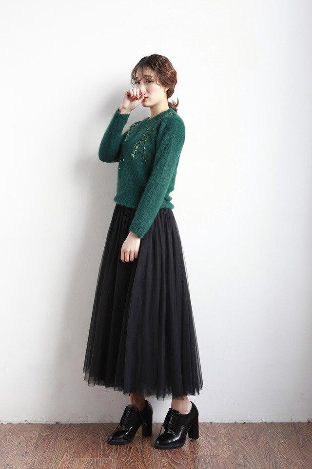 UWBACK Women Skirt 18 Summer Long Maxi Mesh Skirt Tulle Skirts Women's Full Skirt Tutu 3 Colors Mujer Falda KB1040 3
