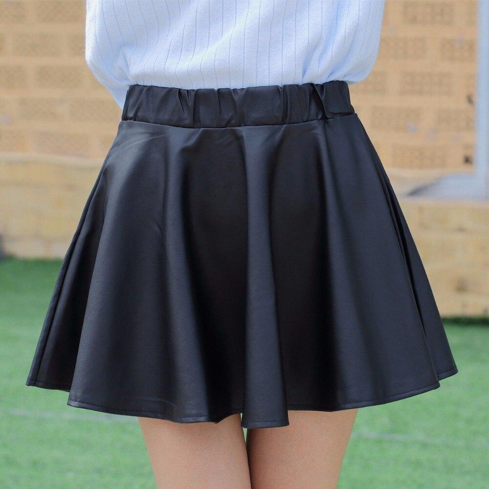 Danjeaner PU Autumn Winter Skirts Women 17 High Waist Black Slim Mini Waterproof Pleated Skirts Female Casual Leather Skirt 1