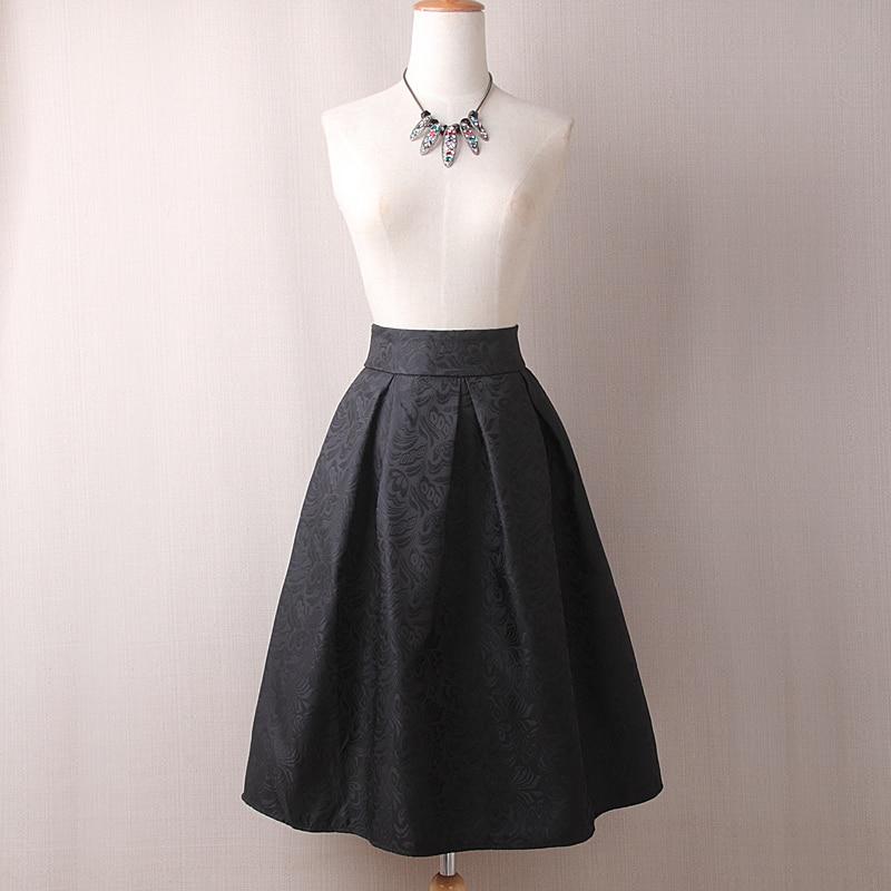 Neophil 19 Winter Black Red Jacquard Pleated Ball Gown Skater Ladies Midi Skirts Womens Plus Size Office Wear Tutu Saia S08044 2