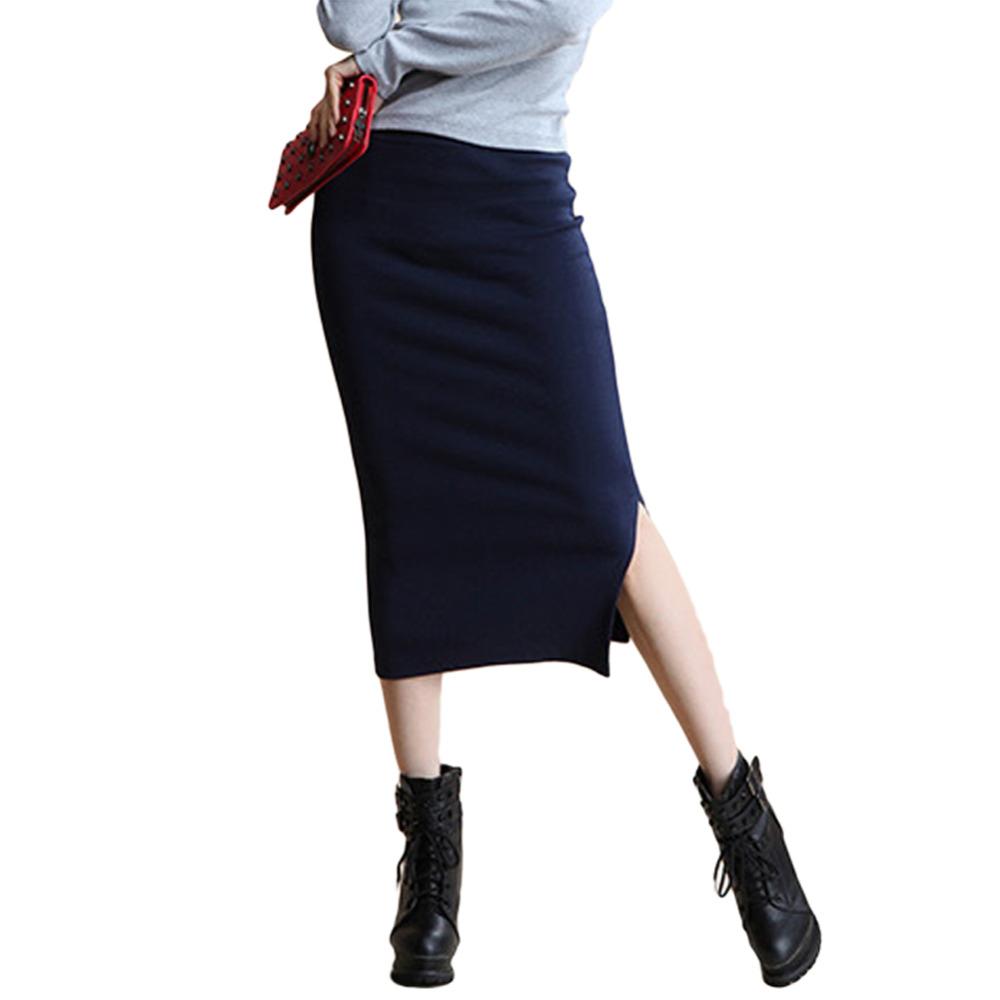 Danjeaner 17 Autumn Winter Women Slim Split Long Skirts High Waist Knitted Cotton Pencil Skirts Super Elastic Maxi Skirts 2