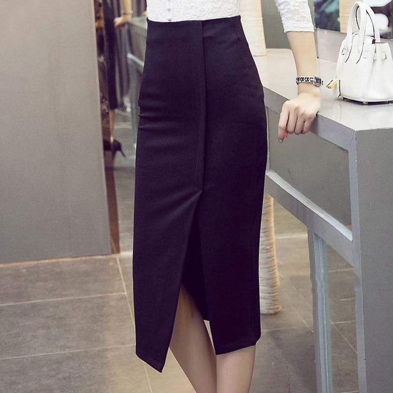 18 spring summer women Korean Style Split Skirts Casual Slim high Waist Hip Skirt Calf Elastic Plus Size lady skirt 3