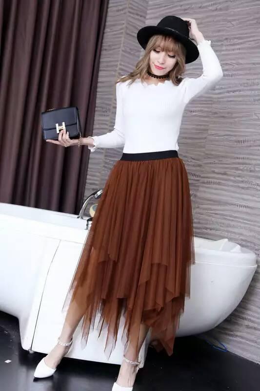 Women Tulle irregular Skirts New 19 spring 3 Layered Mesh Vintage High Waist Tutu Maxi Cake Saias skirts 1