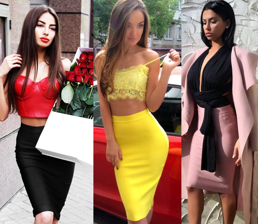 Bqueen 19 New Women's Bandage Skirt Summer Fashion Knee-length Solid Color Slim Bodycon Skirt Wear To Work Fashion Hot 2