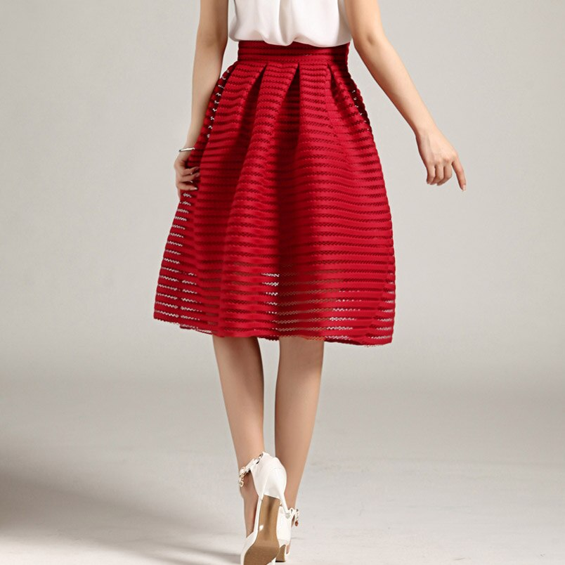 17 Large Size Summer Style Vintage Skirt Solid Reds Women Skirts Casual Hollow out fluffy Pleated Female Ball Gown long skirts 2