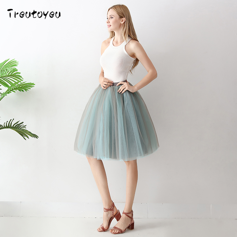 6 Layers Fashion Tutu Tulle Skirt Knee Length Pleated Skirts Womens Wedding skirt Lolita Petticoat Saia Faldas Jupe 2