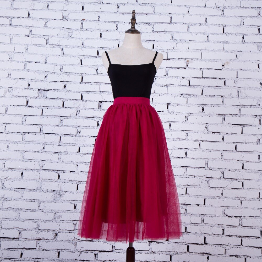FOLOBE Vintage 7 colors faldas korean style 80cm Long maxi Tulle skirts autumn jupe high waist adult long tulle skirt 4 Layers