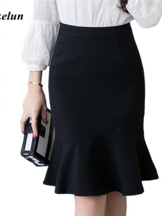 S-5XL 19 Women Pencil Skirt Fashion OL Slim Bodycon Business Wear Ruffles Hem Mermaid Style Plus Size Ladies Office Skirt