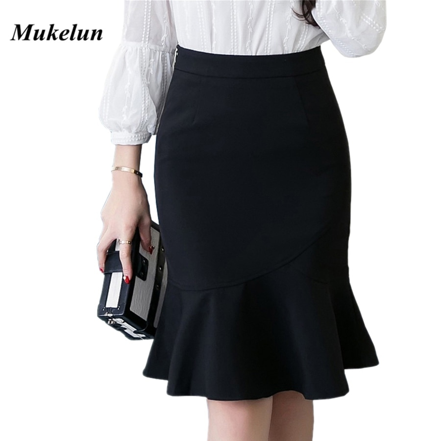 S-5XL 19 Women Pencil Skirt Fashion OL Slim Bodycon Business Wear Ruffles Hem Mermaid Style Plus Size Ladies Office Skirt
