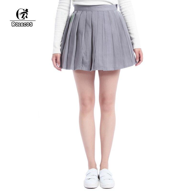 ROLECOS Plain Gray Girls Pleated Skirt School Patterns Preppy Sweet Style Women Skirt Summer CC34-QU-GY 1