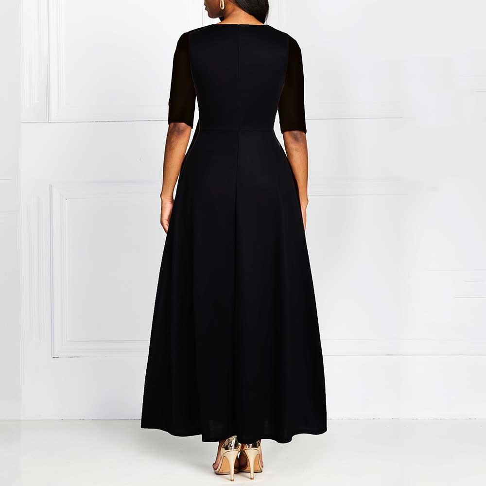 Autumn Winter Women Black Long Dress Elegant Print 19 African Vestido Vintage A Line Plus Size Half Sleeve Party Dresses Black 2