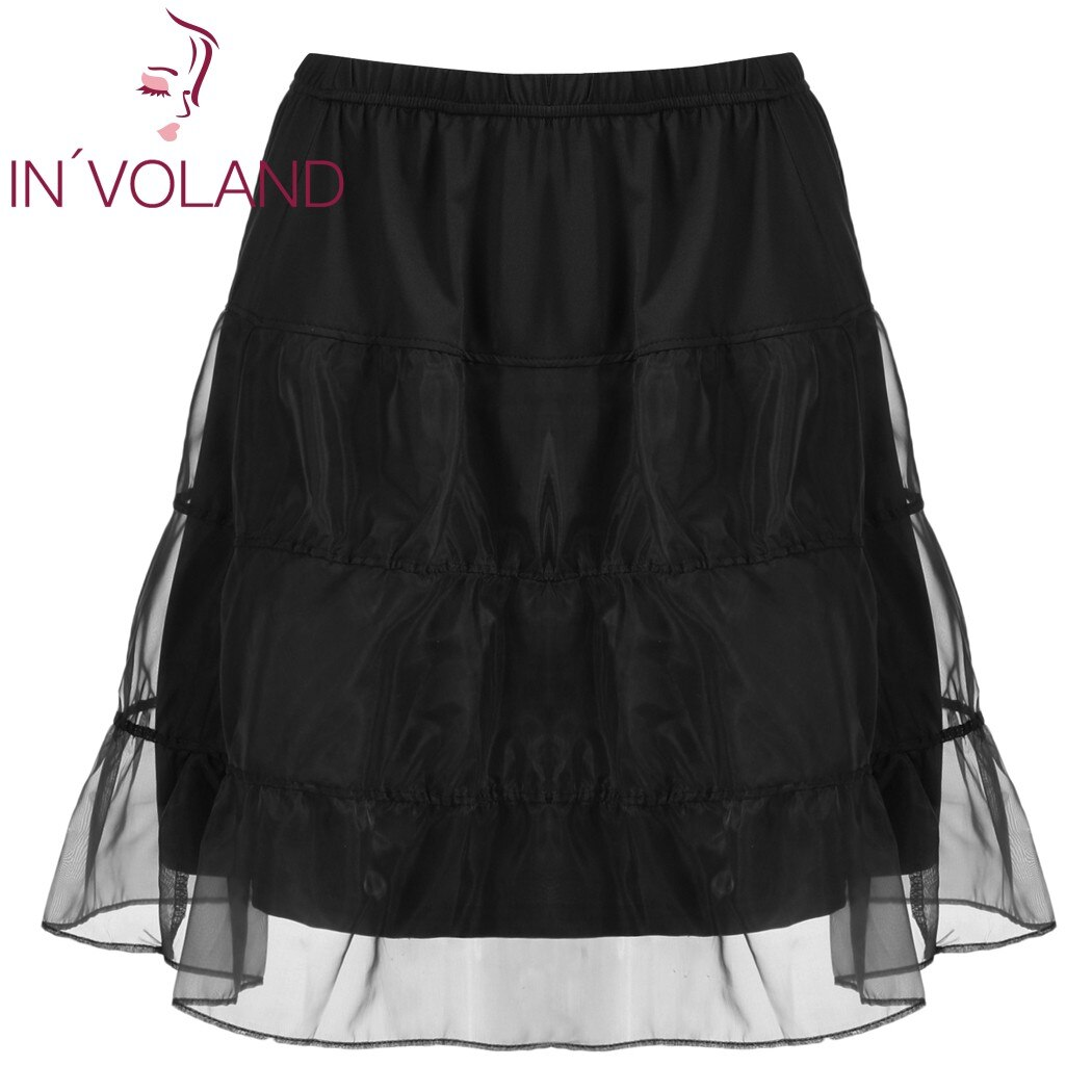 IN'VOLAND Women Skirt Plus Size Organza Patchwork Elastic Band Casual Flared Lady A-Line Tiered Beach Skater Skirt Plus Size 2