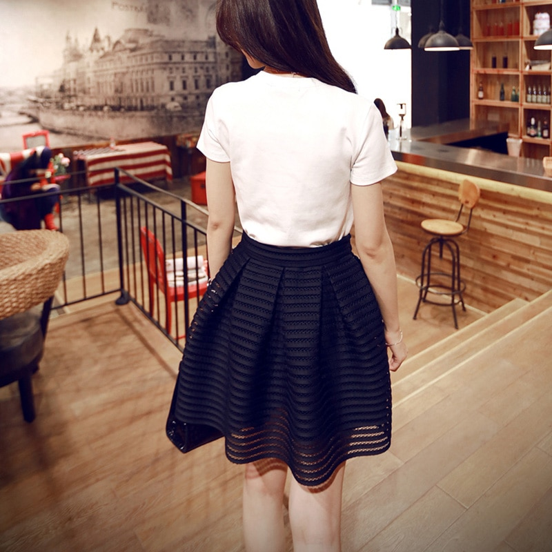 17 Summer New Style Sexy Fashion Skirt Womens Striped Hollow-out Fluffy Long Skirt Swing Skirts Ladies Black/White Ball Gown 3