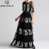 Qian Han Zi newest Designer Runway Maxi Dress Women Half Sleeve Mesh Embroidered Hollow Out Lace Vintage black party Long Dress