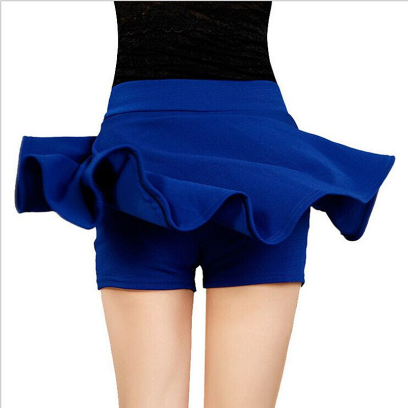 Danjeaner Korean Style Safty Skirts Women High Waist Candy Color Casual Mini Skirts Ladies Solid Elastic Wasit Pleated Skirts