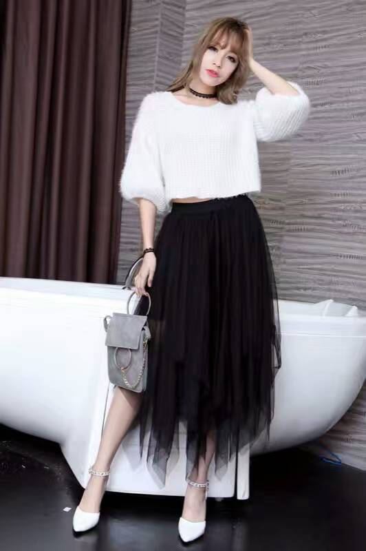Women Tulle irregular Skirts New 19 spring 3 Layered Mesh Vintage High Waist Tutu Maxi Cake Saias skirts 2