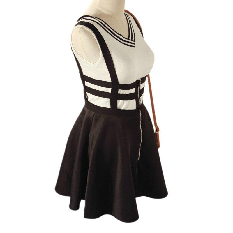 EFINNY Retro Hollow Women Ladies Skater Strap Skirt Suspender Skirt Mini Kawaii Pleated Skirt 3