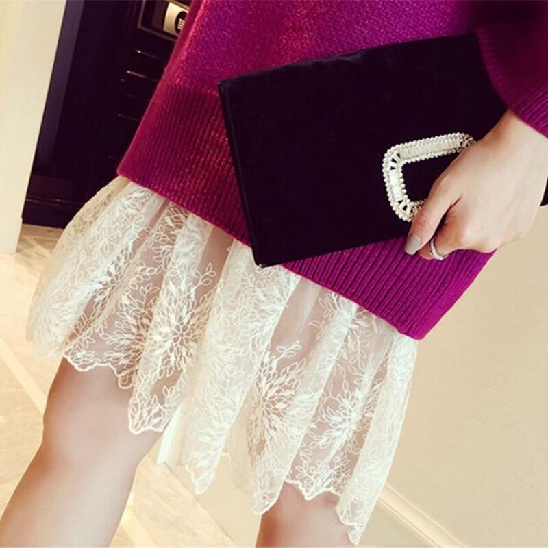 Women Lady Lace Mesh Slip Skirt Knee Length A-Line Floral Underskirt Petticoat Fashion Summer New White Black 904-733 3