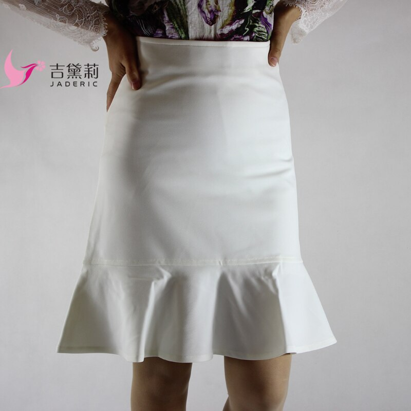 Jaderic Ruffle OL Pencil Skirt Women Sexy Slim Elegant Work Spring Autumn Skirts 18 Fashion New Brief High Waist Skirt S-4XL