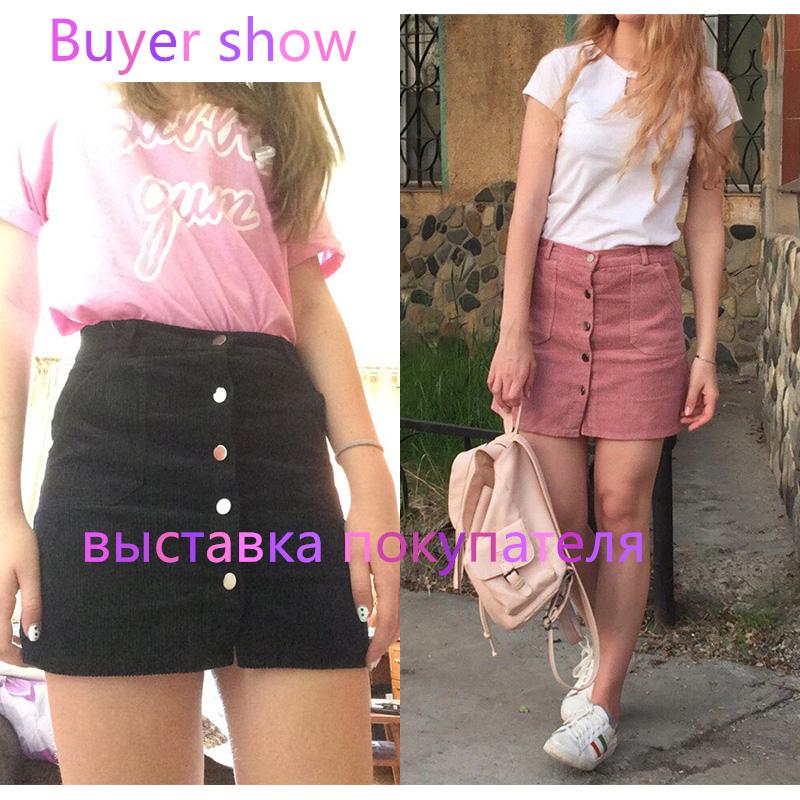 Spring Harajuku Office Lady School Women's Short Skirt Denim Style Button A-line Corduroy High Waist Pocket Mini Skirt 2