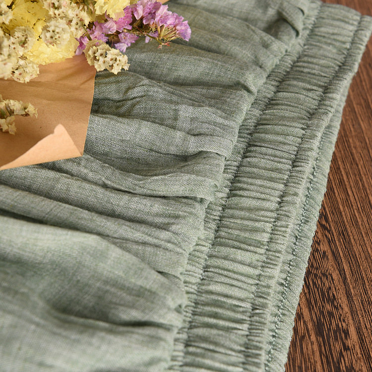 Women's Elegant 16 Color High Waist Elastic Waist Linen Pleated Long Skirts Ladies Slim Casual Skirt Saias New 18 Summer SK05 3