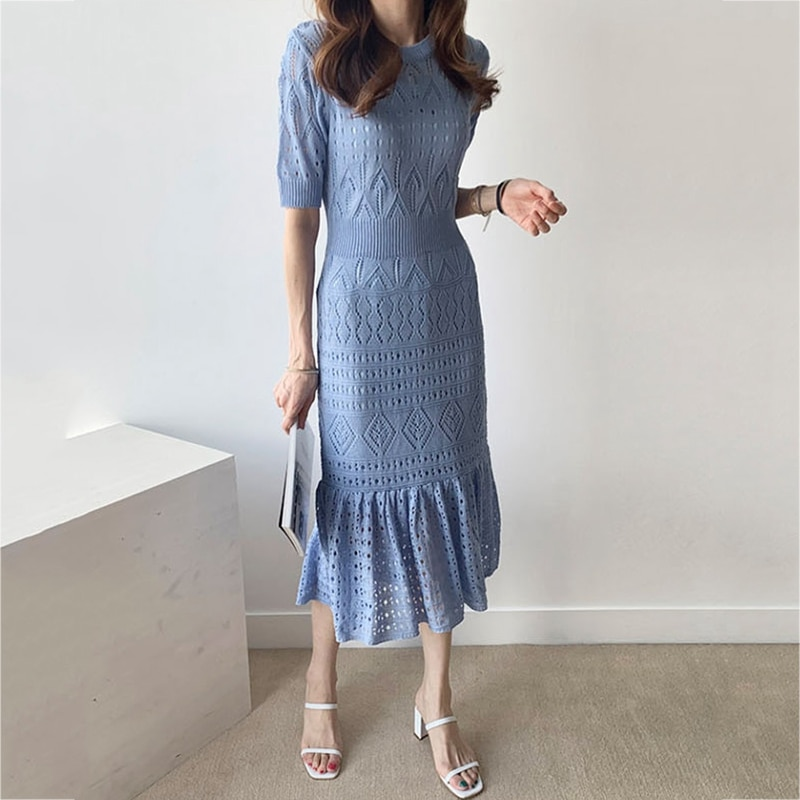 RealShe Women Dress Elegant O-neck Half Sleeve Ruffles Hollow Out Solid Knitted Women Maxi Dress Sping Autumn Vintage Dress 2