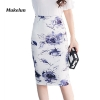 19 Spring Summer Work Skirts Women Sexy High Waist Slim Floral Print Fashion Lady Vintage Office Pencil Skirt Saias
