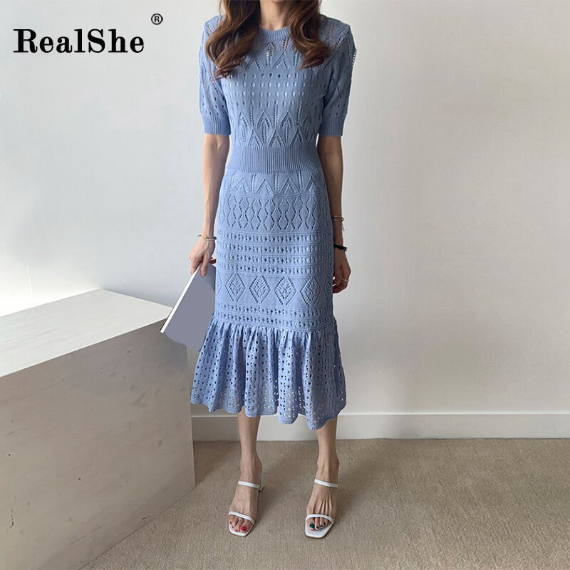 RealShe Women Dress Elegant O-neck Half Sleeve Ruffles Hollow Out Solid Knitted Women Maxi Dress Sping Autumn Vintage Dress