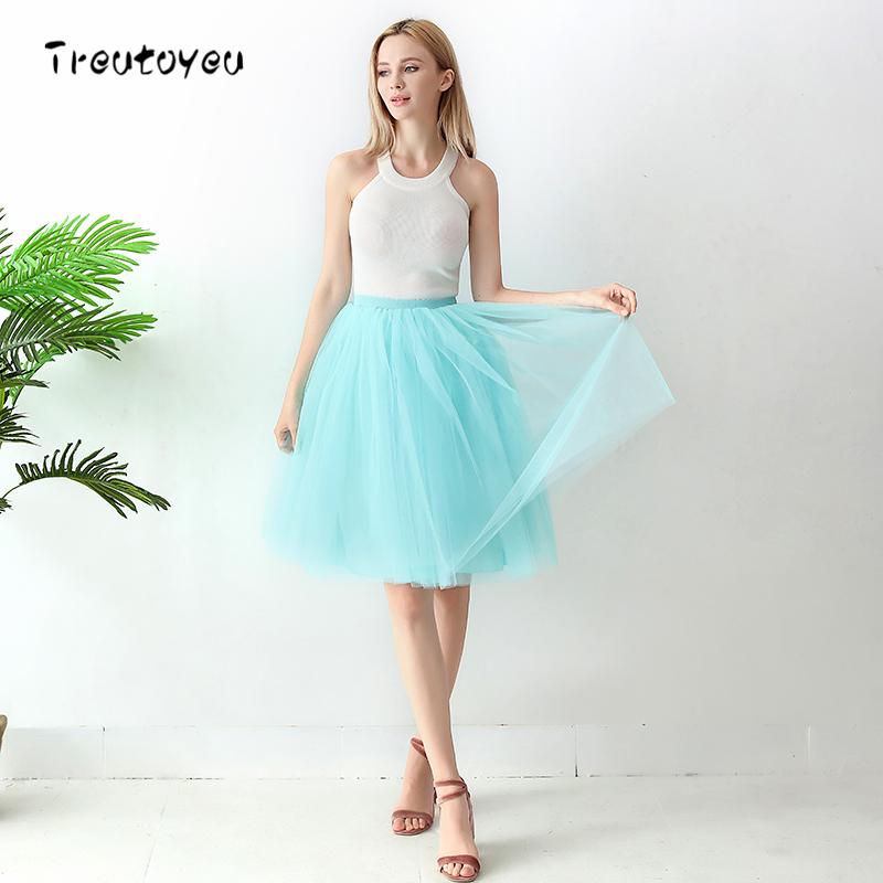 High Waist 6 Layer Midi Tulle Skirt Tutu Skirts Womens Petticoat Elastic Belt Summer faldas saia jupe 18 2