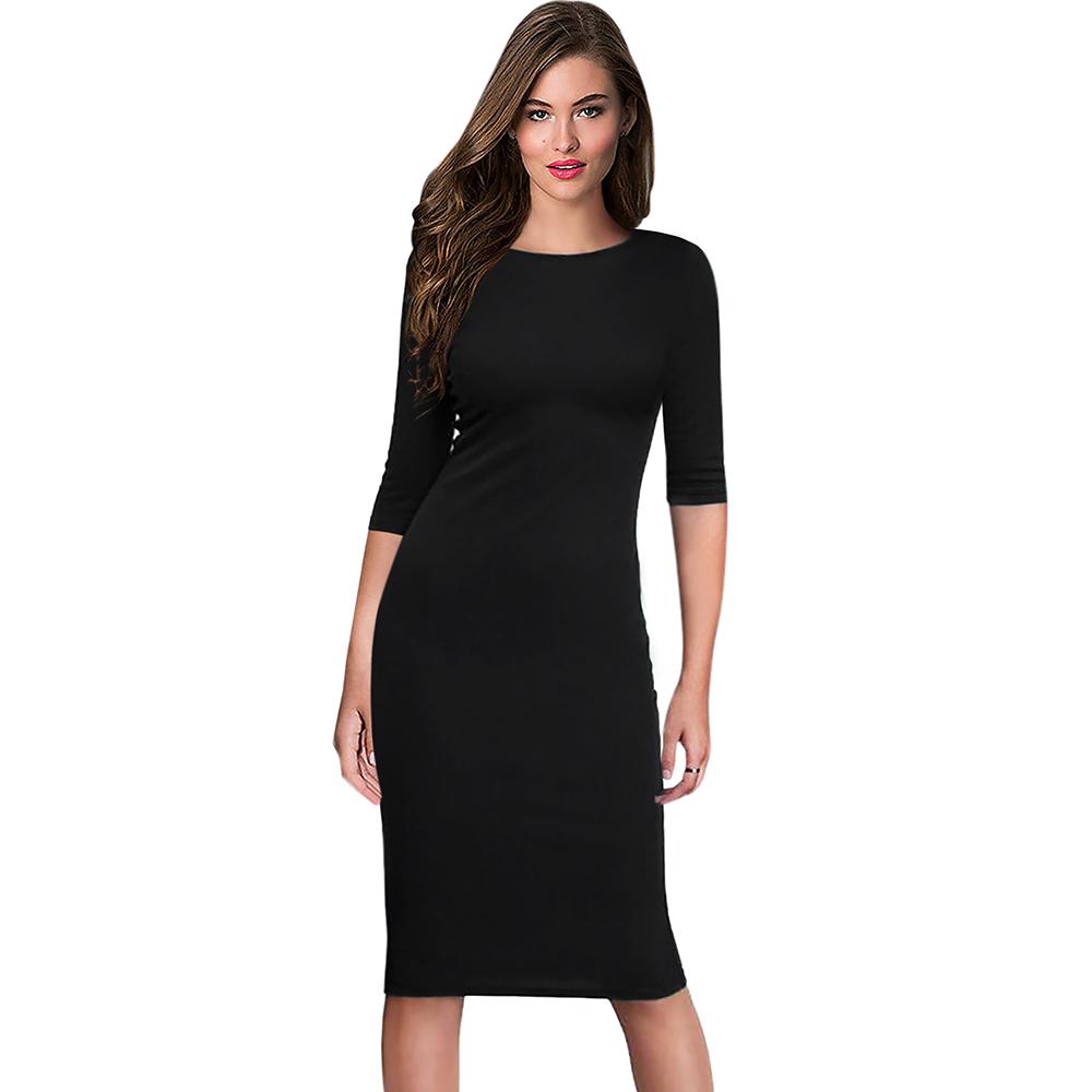 Berydress Women's Work Office Dresses 18 Summer Half Sleeve Knee Length Midi Formal Vestidos De Festa Burgundy Casual Dresses 2