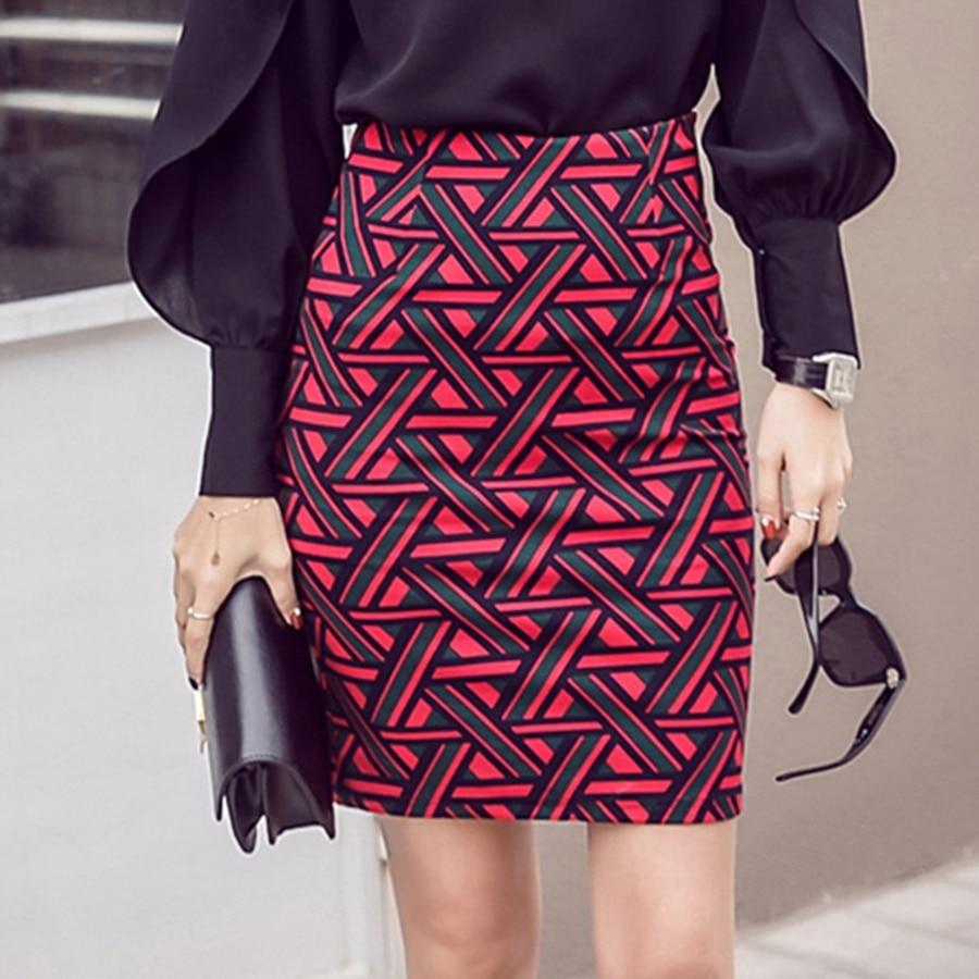 Womens Long Pencil Skirt Knee Length Fashion Summer OL Sexy Elegant Plaid Plus Size Formal Work Office Printed Skirts Female 3