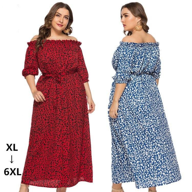 XL-6XL Plus Size Dress Women Long Beach Dress Fashion Slash Neck Half Sleeve Maxi Dresses Leopard Print Autumn Summer Vestidos
