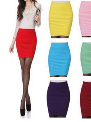 17 Fashion Women Skirts Candy Color Ladies Elastic High Waist Summer Pencil Skirts 14 Colors D001